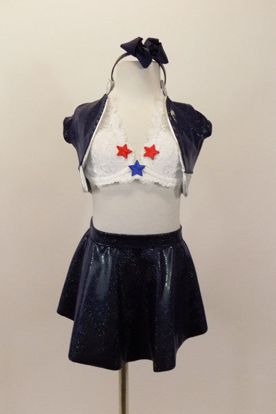 Flight attendant 3 piece costume has white lace halter bra (30A) with star appliques. Comes with navy skirt, navy short jacket with silver trim & navy hairband. Front