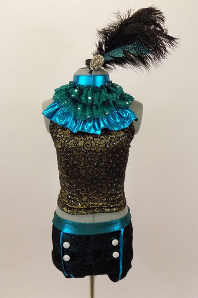 Black & gold lace halter has separate ruffled high neck turquoise collar. Lace shorts have turquoise piping & button accents. Has large feather hair accessory. Front
