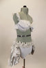 Costume has white bra (36A) with chiffon ruffle,beaded lace & grey draping. Bottom is white short & silver silk pouf bustle, white organza roses, feathers & curly ruffle. Has matching hair accessory. Right side