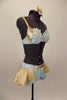 Pale blue & gold costume has gold lamé bra covered in pale blue crêpe with crystal accents & brooch. Shorts have lace & gold waistband & open front gold skirt. Right side