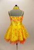 Orange & yellow paillettes, feathers & crystals adorn yellow satin dress with halter neck, skirt with yellow base on orange petticoat & matching hair accessory. Back