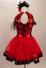 Dress has bodice with sweetheart neck polka dots & black mesh covered with crystals & feather trim. Skirt is red tricot with black satin hem. Has hair accessory. Back