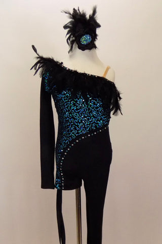 One leg unitard has turquoise sequin on one side & black on other, lined with crystals & black feather trim. Short leg has leg ties. Comes with hair accessory. Front