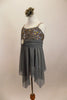 Empire waist lyrical dress has jagged mesh skirt & silver sequined lace bust. Has crystaled straps & sash with large crystal-opal brooch & matching hair piece. Left side