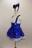 Cap sleeved dress has crystaled blouson bodice, wide waistband, 2  white buttons & suspenders attached to polka dot blue skirt.& white sequined petticoat. Come with mouse ear headband with bow. Left side