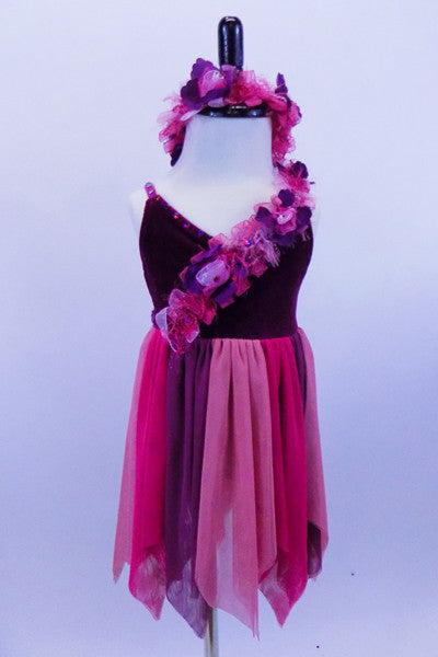 Empire waist dress has burgundy velvet base with organza floral ribbon, crystaled straps & skirt of alternating rose-pink-mauve mesh. Has matching hair band. Front