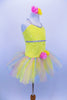 Sequin mesh overlays front bodice of  camisole leotard with silver braid trim. Rainbow sparkle tulle rests on yellow tricot tutu. Roses accent waist and hair. Right side