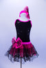 Tank biketard has sparkling black bodice with cerise binding. Attached skirt is black lace & cerise petticoat. Comes with zebra splatter print top & headband. Front without crop-top