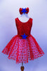 Red tank leotard dress has sequined bodice with large bow with blue star applique, Skirt is layers of white tricot with red polka dot mesh & matching hair piece. Front