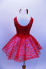 Red tank leotard dress has sequined bodice with large bow with blue star applique, Skirt is layers of white tricot with red polka dot mesh & matching hair piece. Back