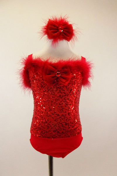 Red leotard has sequined bodice with marabou trim and a large jeweled bow at front. Comes with matching jeweled bow/feather hair accessory. Front