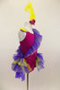 Magenta camisole biketard has crystals & feather accents. Asymmetrical  purple & yellow ruffle crosses the bodice & open front bustle. Has yellow hair feather. Right side