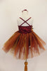 Rich earth-tone tutu dress has burgundy sequined bodice. Skirt is glitter ombré tulle over burgundy tulle layers with gold floral accent & hair accessory.  Back