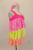 Three tiered, ruffle biketard is neon pink, yellow and orange sequin stretch mesh. The neon pink neckline has a jeweled bow. Comes with sequined hair band. Right side