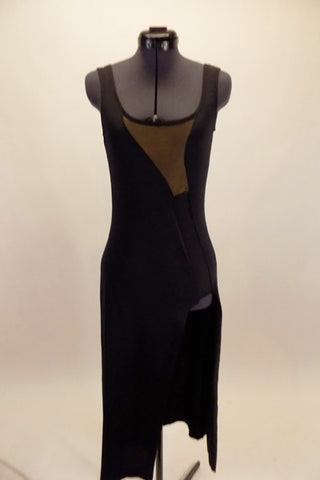 Black stretch asymmetrical bottom tank dress has mesh swirl inserts and large side slit. Simple elegant style  on stage. Front