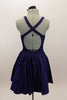 Navy, halter leotard dress has cross straps and low back. Wide waistband separates the bust area & skirt with tulle underlay. Comes with rose hair accessory. Back