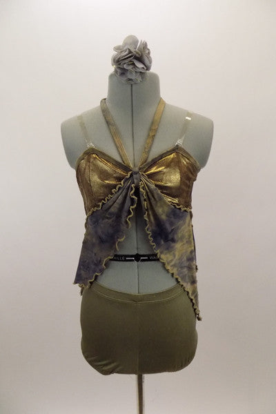 "Gold bra top has ""V"" halter neck strap & attached grey-blue and taupe marbleized kerchief accent attached to bra. Has matching taupe shorts & hair accessory. Front"