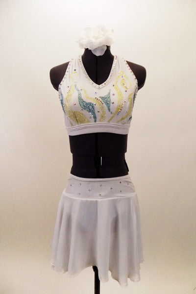 White velvet halter half-top has double back-straps with Swarovski crystal accents & hand painted designs.Matching bottom is has attached chiffon skirt. Front