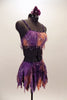 Lavender, purple & blush pink  asymmetrical costume. 2 pieces are joined at left torso & adorned with dangling sequins. Has matching hair accessory. Right side