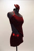 Deep red velvet two-piece costume with red sparkle & metallic accents accents, comes with asymmetrical kerchief top to match shorts. Has flower hair accessory. Right side