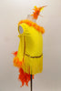 Yellow velvet long sleeved, one shoulder dress has fringe skirt and orange marabou trim. Back has a long orange feather boa tail. Comes with matching hair accessory. Right side