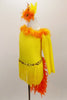 Yellow velvet long sleeved, one shoulder dress has fringe skirt and orange marabou trim. Back has a long orange feather boa tail. Comes with matching hair accessory. Left side