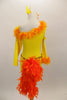 Yellow velvet long sleeved, one shoulder dress has fringe skirt and orange marabou trim. Back has a long orange feather boa tail. Comes with matching hair accessory. Back