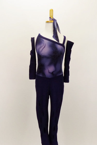 Blue & purple hues combine in asymmetrical unitard. The pants have laser cut tears, as do the pull-on gauntlets Comes with matching hair tie. Front