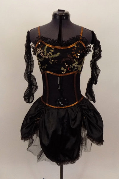Black camisole leotard base has sheer bodice with black &copper beaded lace bust & copper  piping. The black satin gathered skirt has lace trim. Comes with sheer gathered sleeves & mask. Front