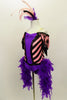 Pink & black chevron stripe off-shoulder leotard has purple bodice with sequin piping black fringe drop sleeves & feather boa. Comes with striped leggings & feather hair accessory. Side