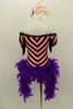Pink & black chevron stripe off-shoulder leotard has purple bodice with sequin piping black fringe drop sleeves & feather boa. Comes with striped leggings & feather hair accessory. Back