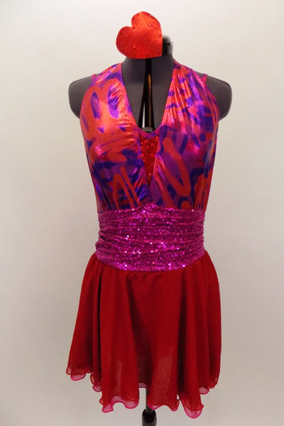 Red and purple satin halter dress has pinch front, red chiffon skirt, pink sequined waistband  & dress is a red sequined bra top, Comes with heart hair piece. Front
