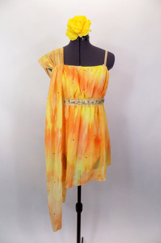 Yellow & orange single shoulder chiffon dress has gold crystals & an empire waist with gathered chiffon shoulder. Comes with gold beaded belt & floral hair accessory. Front