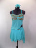Aqua chiffon costume has silver sequins on bust of open sided baby-doll top. Skirt has layers of aqua chiffon over briefs. Comes with floral hair accessory. Front