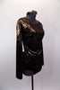 Copper and black metallic long sleeved tunic top has round neck & open back joined by a wide horizontal band. Comes with black briefs & metallic hair accessory. Side