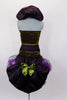 Costume has olive velvet vest-top with mesh halter neck & plum satin Elizabethan collar. Matching high-leg brief has elastic ruffle & plum bustle with black & purple tulle & green bow. Comes with purple floral hair accessory. Back