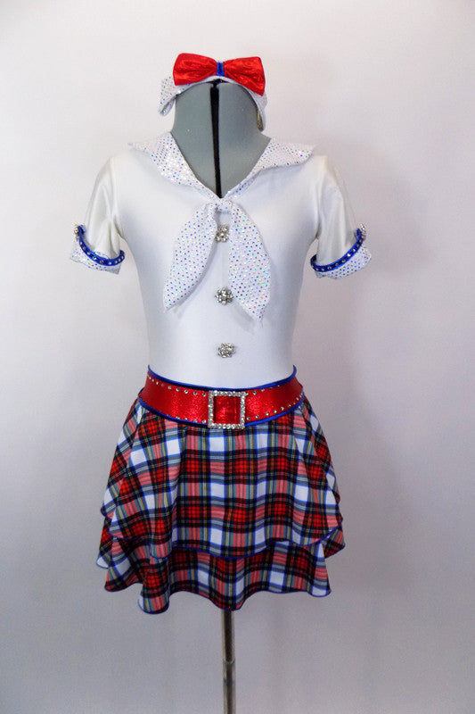 White schoolgirl style kilt dress has neck-tie collar, red crystal accent belt, blue piping & large crystal-jeweled buttons.Comes with bow hair accessory. Front