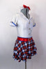 White schoolgirl style kilt dress has neck-tie collar, red crystal accent belt, blue piping & large crystal-jeweled buttons.Comes with bow hair accessory. Side