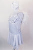 White sparkle leotard dress has layered chiffon skirt & crystal covered bust area. Shoulders are lined with white down feathers.  Comes with hair accessory. Side