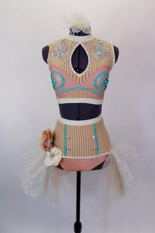 Crystaled costume in pastel hues of cream rose & aqua has high waisted briefs with tulle bustle & large silk flowers. Matching pastel top has sequined accents and aqua swirls. has floral hair accessory. Front