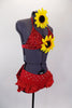 Two piece red costume has beaded triangle bra-top with large center sunflower. Ruffled brief has crystaled waistband & large back bow. Has sunflower hair piece. Right side