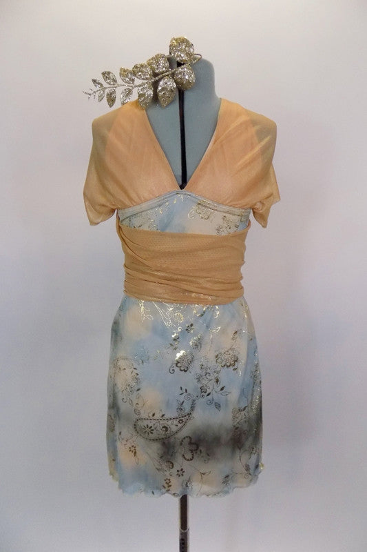 Pale blue-gold empire waist dress has triangle bra with cross straps. Long nude shimmering scarves attached at bust line wrap like a Collar & Obi & tie at back. Comes with gold leaf hair accessory. Front