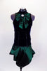 Navy velvet tank top with princess seams has emerald front bow accent with crystal brooch. Matching emerald taffeta pleated & tulip angle skirt complete look. Comes with crystal hair accessory. Front