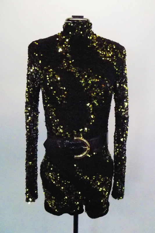 Black long sleeved, beaded lace short unitard has splashes of silver & gold sequins throughout, high collar & deep open back. Comes with belt & hair accessory. Front