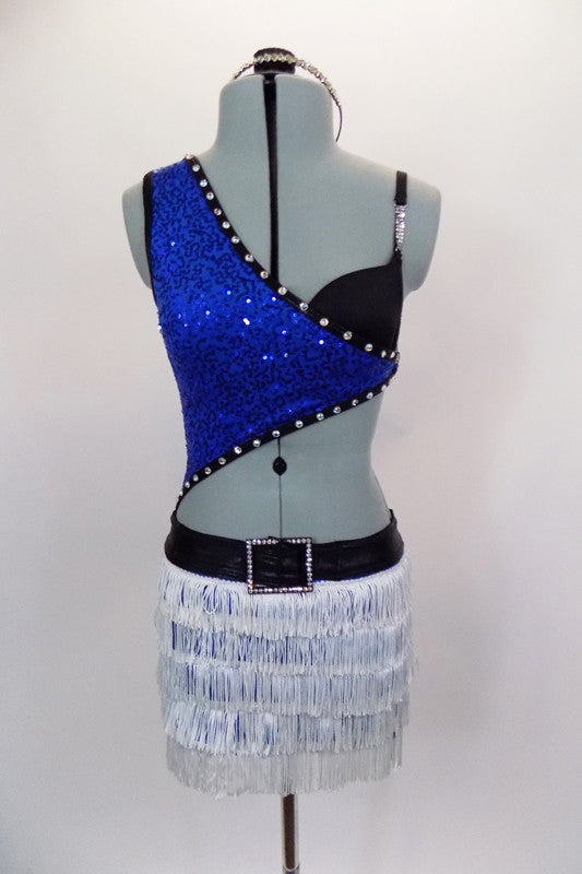 Asymmetrical blue sequined top with black bra is lined with crystals & is connected at the side by a crystal ring. Bottom is an attached white fringed skirt with crystal buckle accent. Has matching hair accessory. Front