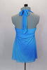 Blue chiffon halter baby-doll top has large jeweled applique at front center over pleated bust area & ties at neck. Comes with black shorts and hair accessory. Back