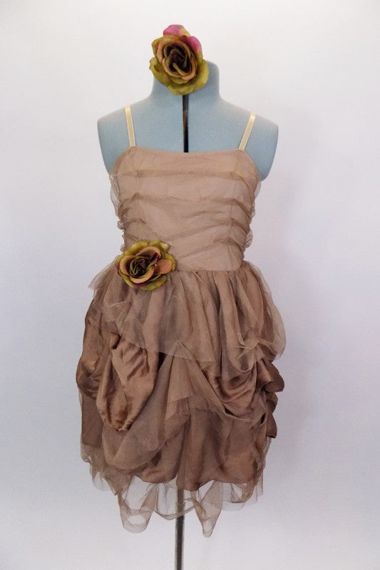 Shirred, taupe mesh overlays the entire dress. The skirt has hand-sewn pick-ups, of satin & mesh with rose.  Has nude adjustable,straps & rose hair accessory. Front