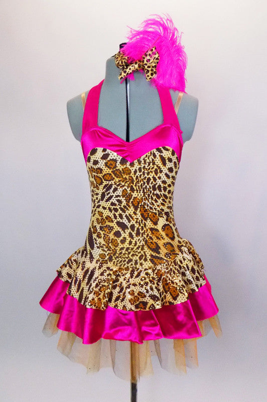 Hot pink satin & cheetah print halter-neck leotard dress is embellished with gold sequins. Gold glitter tulle sits beneath skirt. Has matching hair accessory. Front