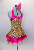 Hot pink satin & cheetah print halter-neck leotard dress is embellished with gold sequins. Gold glitter tulle sits beneath skirt. Has matching hair accessory. Side