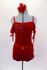 Red velvet leotard has off shoulder gather sleeves with ties & velvet shoulder straps. Bodice has three crystal hearts. Comes with shorts and hair accessory. Front